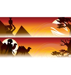 african travel backgrounds set with girl camel and vector image
