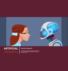artificial intelligence woman with modern robot vector image