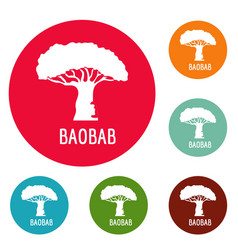 baobab tree icons circle set vector image