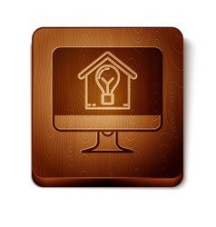 Brown computer monitor with smart house and light vector
