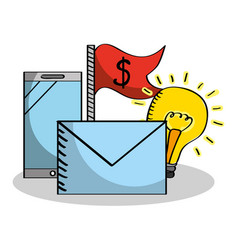 business smartphone email idea flag money vector image