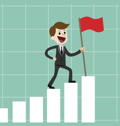 businessman or manager going up on the growing vector image
