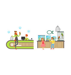Cheerful people shopping in pet shop set visitors vector