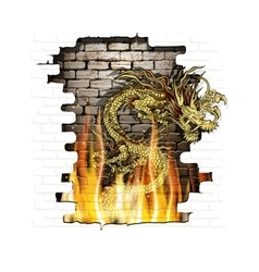 Chinese dragon on a brick background fire vector