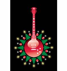 Christmas guitar vector