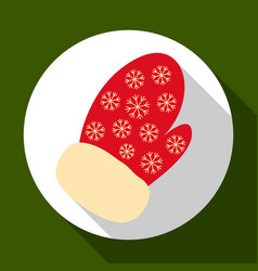 christmas mitten icon on green background with vector image
