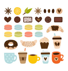 coffee and tea collection coffee-shop icons set vector image
