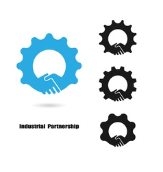 Creative handshake logo and industrial idea vector