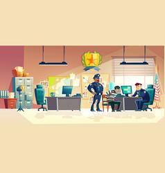 criminal interrogation in police cartoon vector image