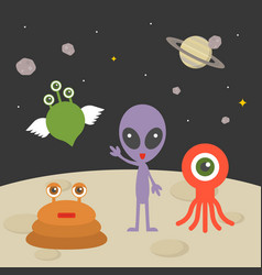 cute alien character on planet with space vector image