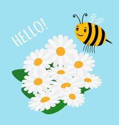 cute cartoon bumblebee and flowers field vector image