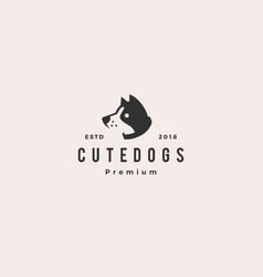 cute dog pet puppy logo hipster retro vintage vector image