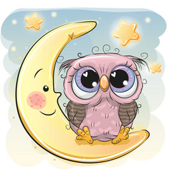 cute owl girl is sitting on the moon vector image