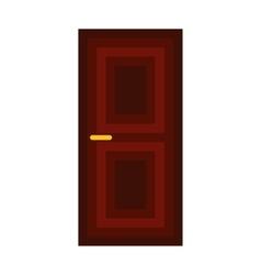 Dark wooden door icon flat style vector image