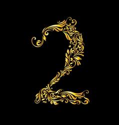 Decorated two digit on black vector