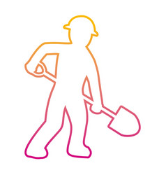 Degraded line pictograph laborer with shovel vector
