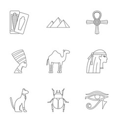 Egyptian pyramids icons set outline style vector