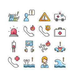 emergency outline color icons set vector image