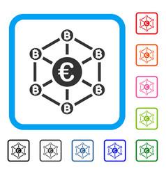 euro bitcoin network framed icon vector image