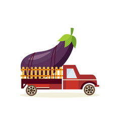 Farming crop concept with big ripe eggplant in vector