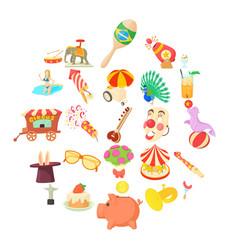 Festivities icons set cartoon style vector
