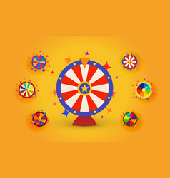 fortune wheels set for web casino prize draws and vector image