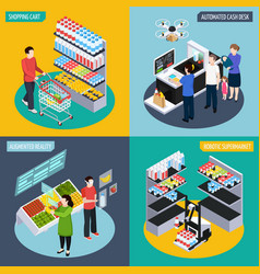 Future super market isometric concept vector