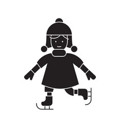 girl skating black concept icon girl vector image