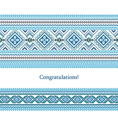 Greeting card with ethnic ornament pattern in vector