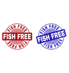 grunge fish free textured round stamp seals vector image