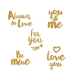 Hand lettering golden set about love vector image