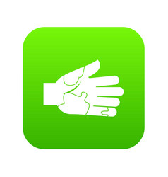 Hand with stains icon digital green vector