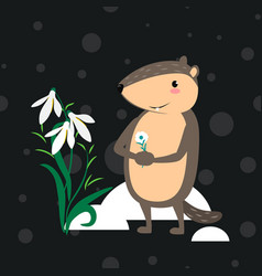 Happy groundhog day design with cute marmot vector