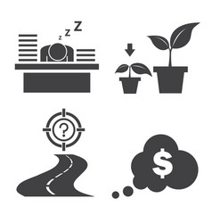 Hard work for target icon set vector