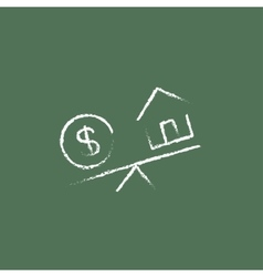 House and dollar symbol on scales icon drawn in vector
