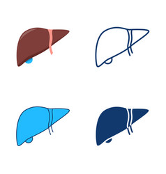 Human liver icon set in flat and line style vector