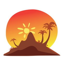 island sunset vector image