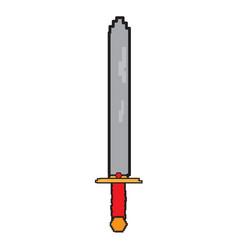 isolated pixelated sword icon vector image