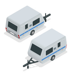 Isometric camping trailer on road travel concept vector