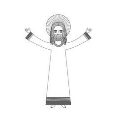 jesuschrist with halo character religious icon vector image
