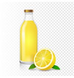 Lemon juice glass bottle realistic vector