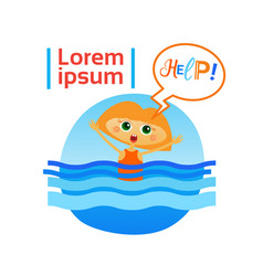 Little girl drown in water child need help vector