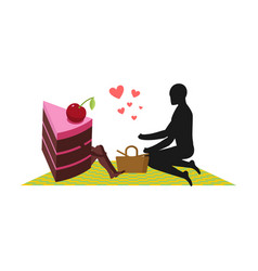 lover of cakes man and piece of cake on picnic vector image
