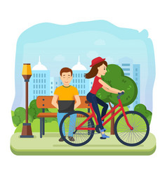 Man running on freelance rest girl rides bicycle vector