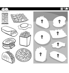 matching shapes game with food objects color book vector image