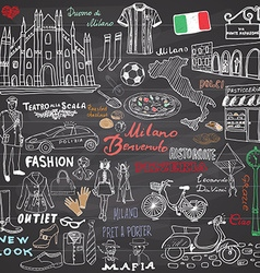 milan italy sketch elements hand drawn set vector image