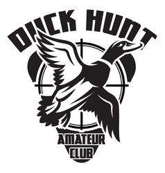 Monochrome template on theme duck hunting vector