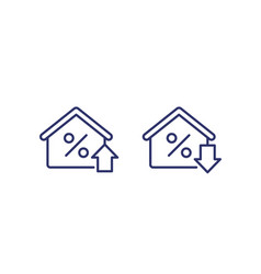 Mortgage rate growing and reducing icons vector