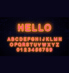 neon beautiful yellow - red letters vector image