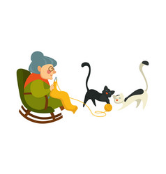 Old woman on retirement knitting sweater vector